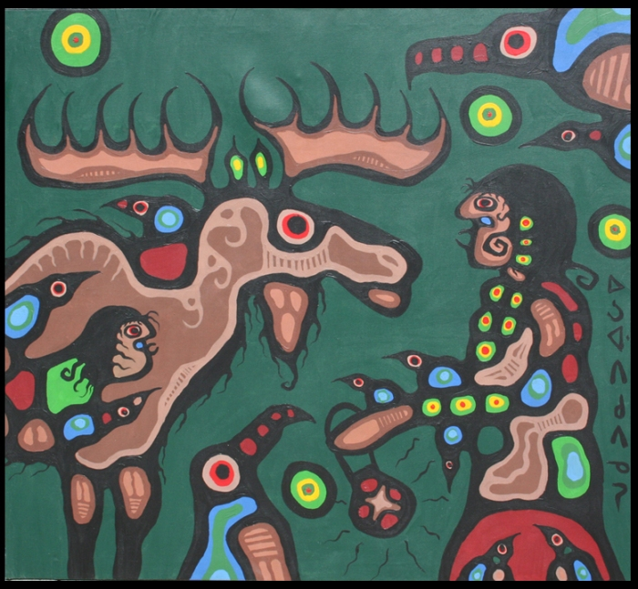 Artist Speaks to Moose Spirit_52x57_1979_by Norval Morrisseau